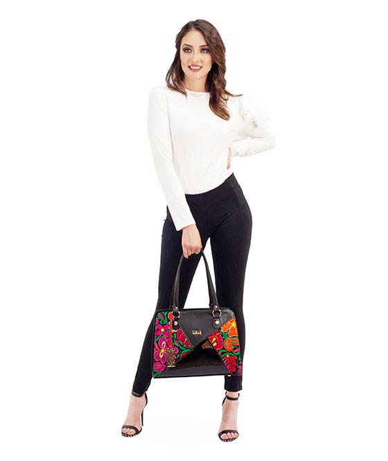 AngeLozano Bag Elsa Model Genuine Leather Color Black Handmade Loom